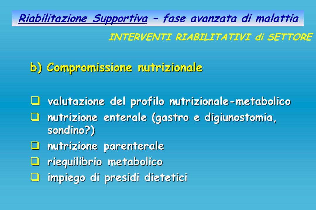 Riabilitazione Supportiva – fase avanzata di malattia b) Compromissione nutrizionale valutazione del profilo nutrizionale-metabolico valutazione del p