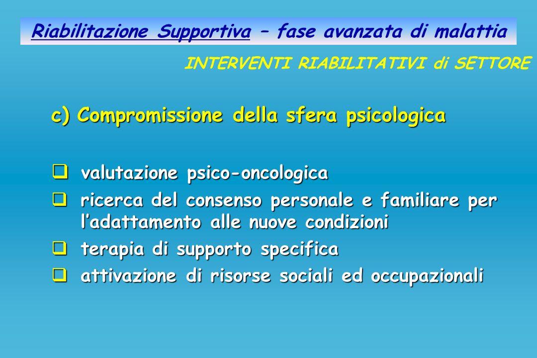 Riabilitazione Supportiva – fase avanzata di malattia c) Compromissione della sfera psicologica valutazione psico-oncologica valutazione psico-oncolog
