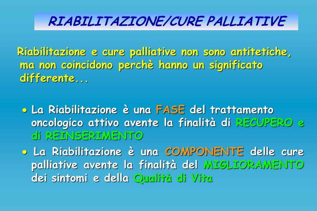RIABILITAZIONE/CURE PALLIATIVE Riabilitazione e cure palliative non sono antitetiche, ma non coincidono perchè hanno un significato differente... La R