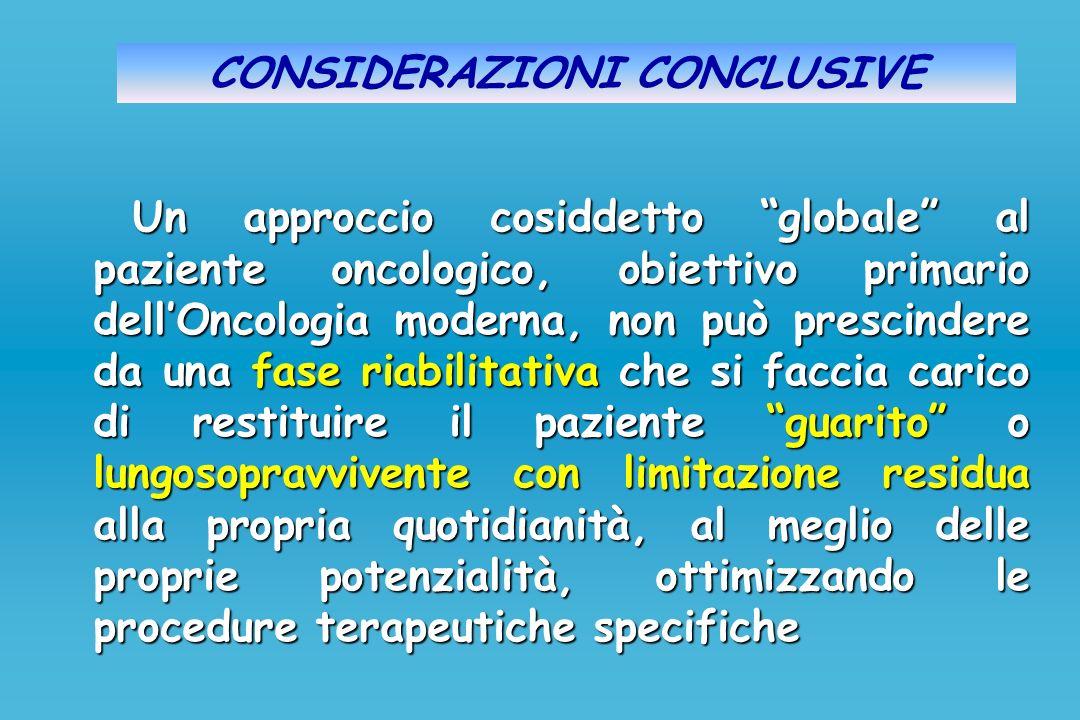 CONSIDERAZIONI CONCLUSIVE Un approccio cosiddetto globale al paziente oncologico, obiettivo primario dellOncologia moderna, non può prescindere da una