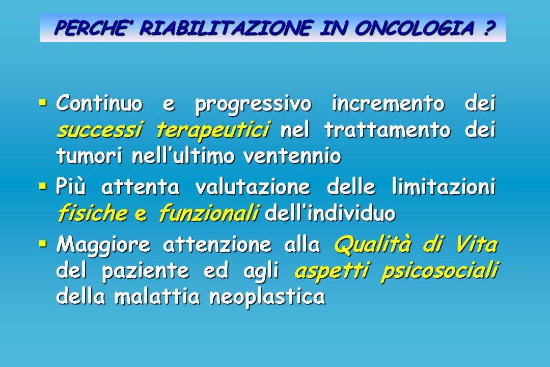 PERCHE RIABILITAZIONE IN ONCOLOGIA ? Continuo e progressivo incremento dei successi terapeutici nel trattamento dei tumori nellultimo ventennio Contin