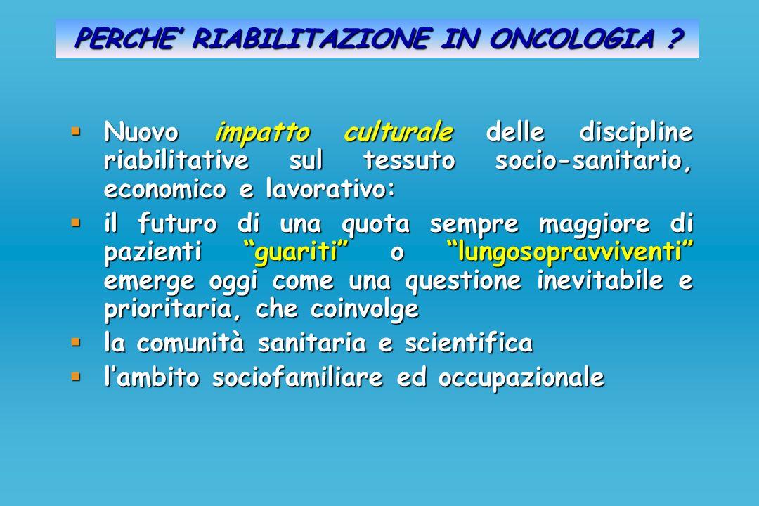 PERCHE RIABILITAZIONE IN ONCOLOGIA ? Nuovo impatto culturale delle discipline riabilitative sul tessuto socio-sanitario, economico e lavorativo: Nuovo