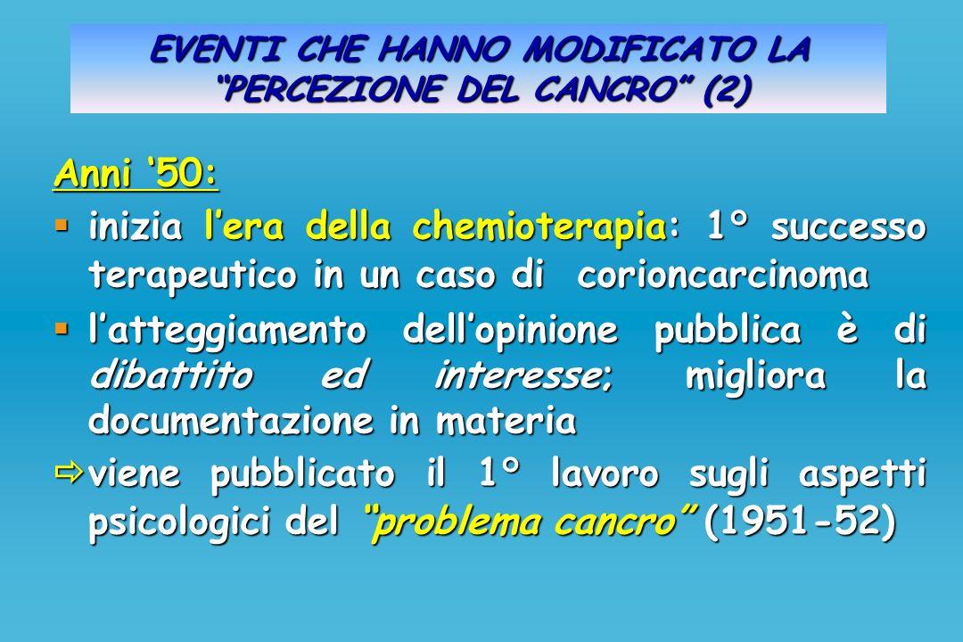 EVENTI CHE HANNO MODIFICATO LA PERCEZIONE DEL CANCRO (2) Anni 50: inizia lera della chemioterapia: 1° successo terapeutico in un caso di corioncarcino