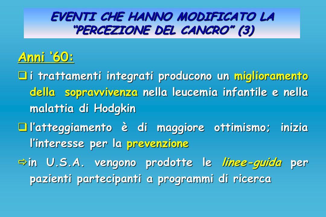 EVENTI CHE HANNO MODIFICATO LA PERCEZIONE DEL CANCRO (3) Anni 60: i trattamenti integrati producono un miglioramento della sopravvivenza nella leucemi