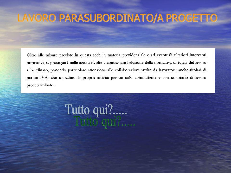 LAVORO PARASUBORDINATO/A PROGETTO LAVORO PARASUBORDINATO/A PROGETTO