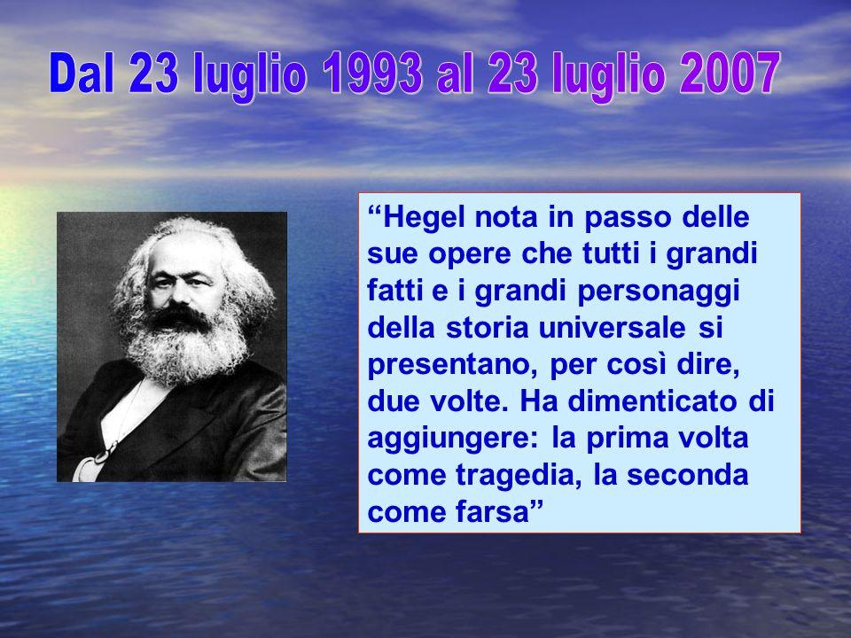 Hegel nota in passo delle sue opere che tutti i grandi fatti e i grandi personaggi della storia universale si presentano, per così dire, due volte.
