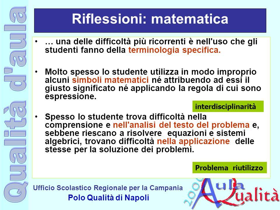 Ufficio Scolastico Regionale per la Campania Polo Qualità di Napoli Riflessioni: matematica … una delle difficoltà più ricorrenti è nell'uso che gli s