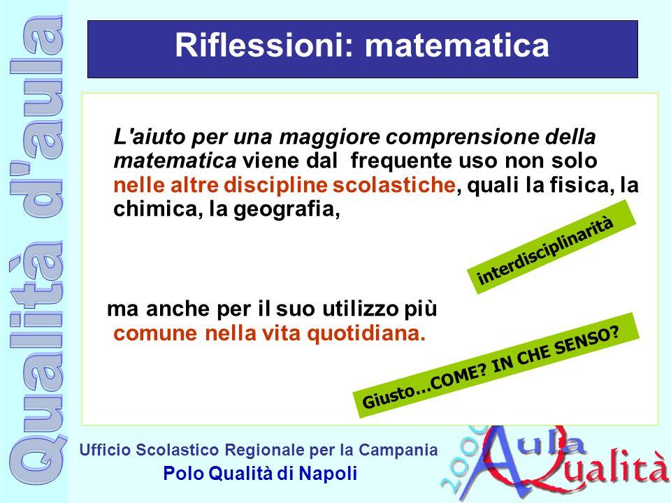 Ufficio Scolastico Regionale per la Campania Polo Qualità di Napoli Riflessioni: matematica L'aiuto per una maggiore comprensione della matematica vie
