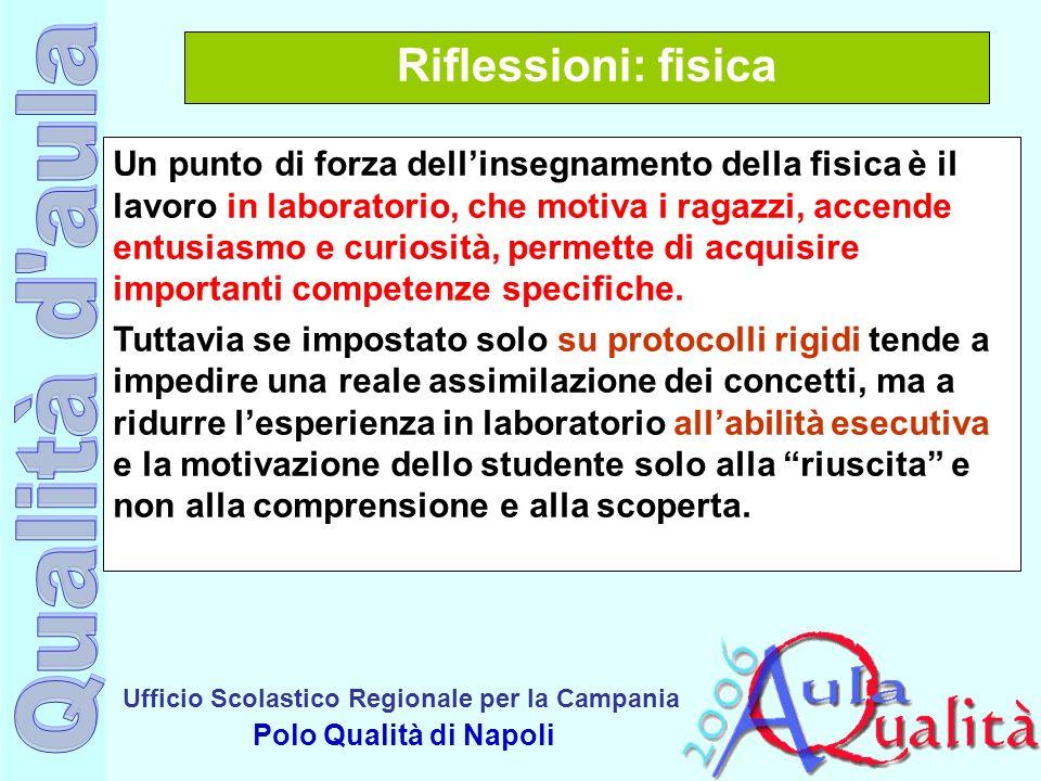 Ufficio Scolastico Regionale per la Campania Polo Qualità di Napoli Riflessioni: fisica Un punto di forza dellinsegnamento della fisica è il lavoro in
