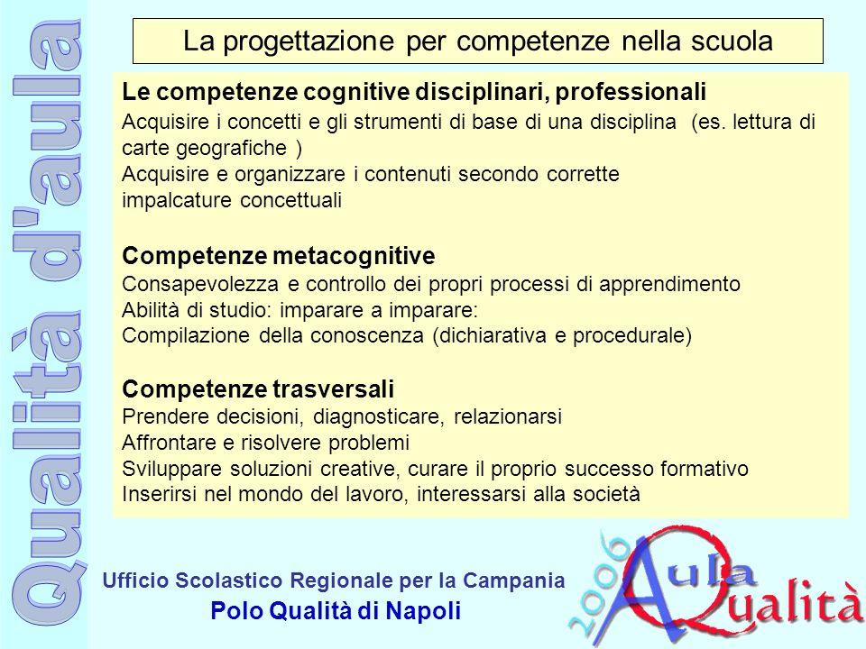 Ufficio Scolastico Regionale per la Campania Polo Qualità di Napoli La progettazione per competenze nella scuola Le competenze cognitive disciplinari,