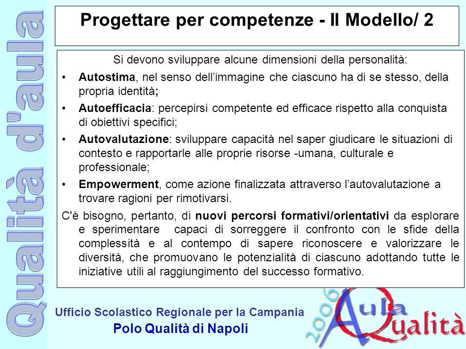 Ufficio Scolastico Regionale per la Campania Polo Qualità di Napoli Progettare per competenze - Il Modello/ 2 Si devono sviluppare alcune dimensioni d