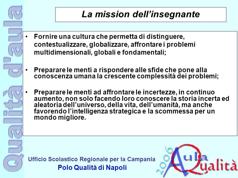 Ufficio Scolastico Regionale per la Campania Polo Qualità di Napoli La mission dellinsegnante Fornire una cultura che permetta di distinguere, contest