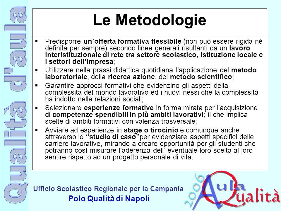 Ufficio Scolastico Regionale per la Campania Polo Qualità di Napoli Le Metodologie Predisporre unofferta formativa flessibile (non può essere rigida n