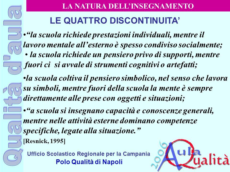 Ufficio Scolastico Regionale per la Campania Polo Qualità di Napoli LE QUATTRO DISCONTINUITA la scuola richiede prestazioni individuali, mentre il lav