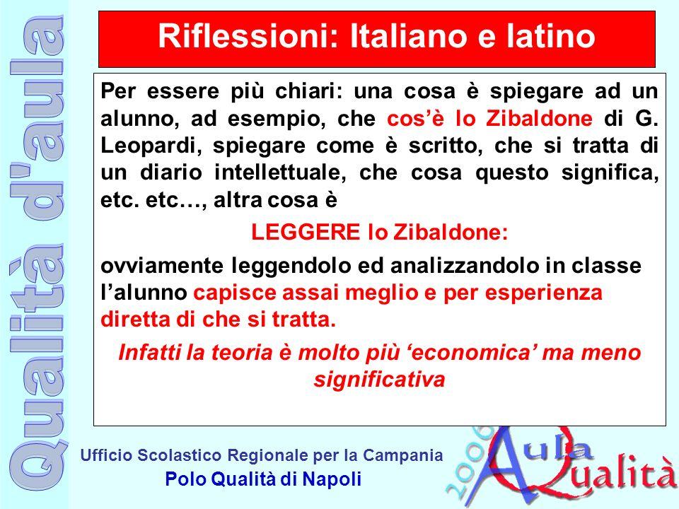 Ufficio Scolastico Regionale per la Campania Polo Qualità di Napoli Riflessioni: Italiano e latino Per essere più chiari: una cosa è spiegare ad un al
