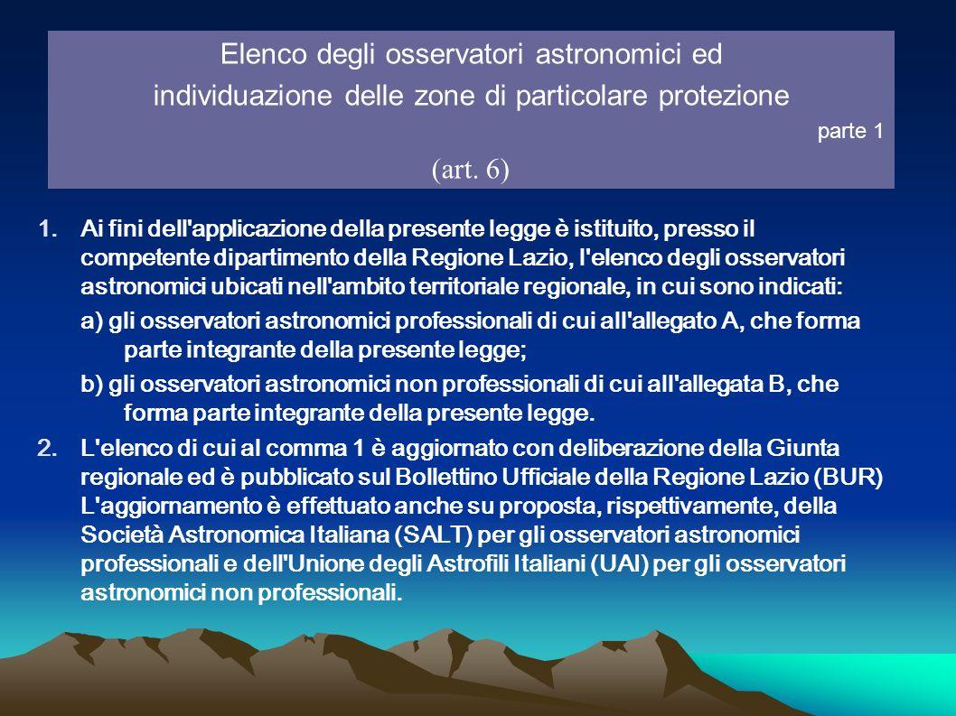 Elenco degli osservatori astronomici ed individuazione delle zone di particolare protezione parte 1 (art. 6) 1.Ai fini dell'applicazione della present