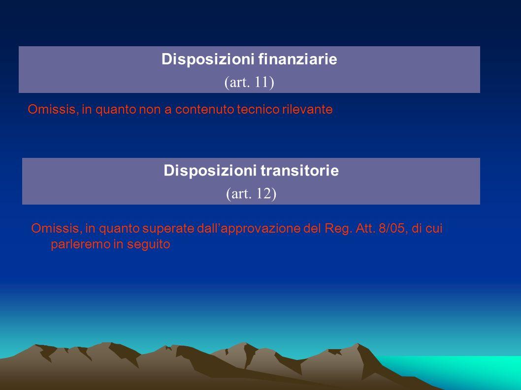 Disposizioni finanziarie (art. 11) Disposizioni transitorie (art. 12) Omissis, in quanto non a contenuto tecnico rilevante Omissis, in quanto superate
