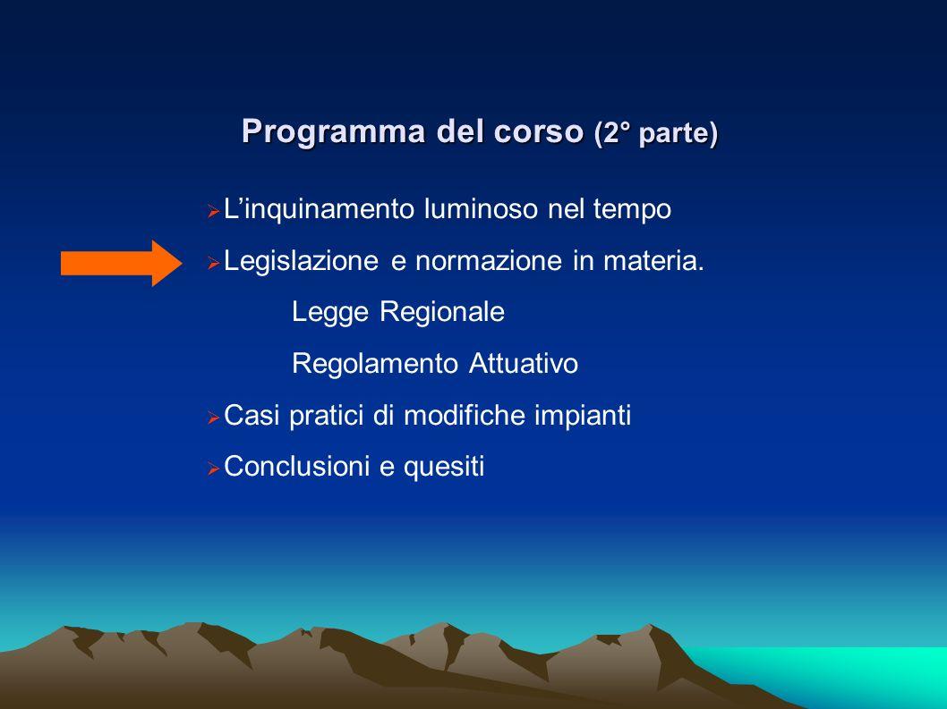 Programma del corso (2° parte) Linquinamento luminoso nel tempo Legislazione e normazione in materia. Legge Regionale Regolamento Attuativo Casi prati
