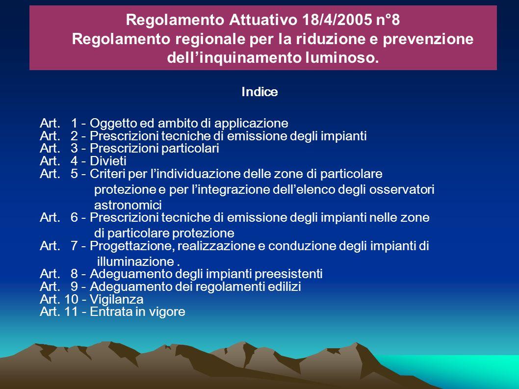 Indice Art. 1 - Oggetto ed ambito di applicazione Art. 2 - Prescrizioni tecniche di emissione degli impianti Art. 3 - Prescrizioni particolari Art. 4