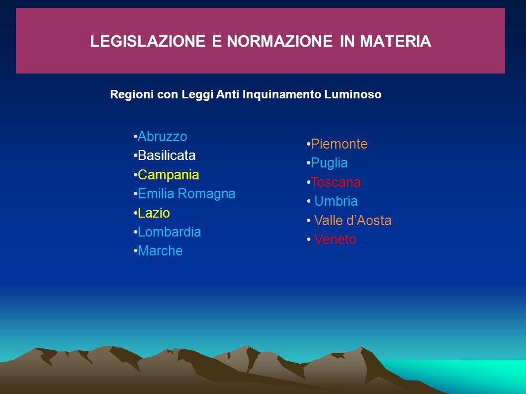 LEGISLAZIONE E NORMAZIONE IN MATERIA Regioni con Leggi Anti Inquinamento Luminoso Piemonte Puglia Toscana Umbria Valle dAosta Veneto Abruzzo Basilicat