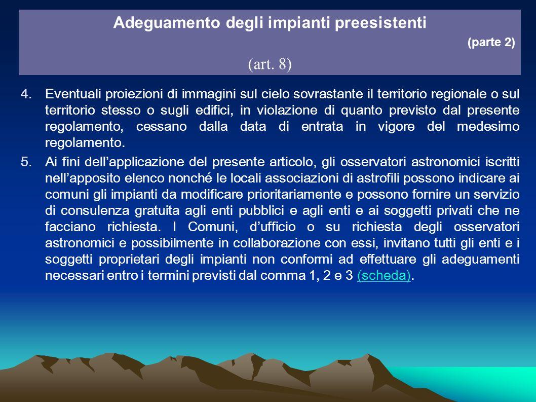 4.Eventuali proiezioni di immagini sul cielo sovrastante il territorio regionale o sul territorio stesso o sugli edifici, in violazione di quanto prev