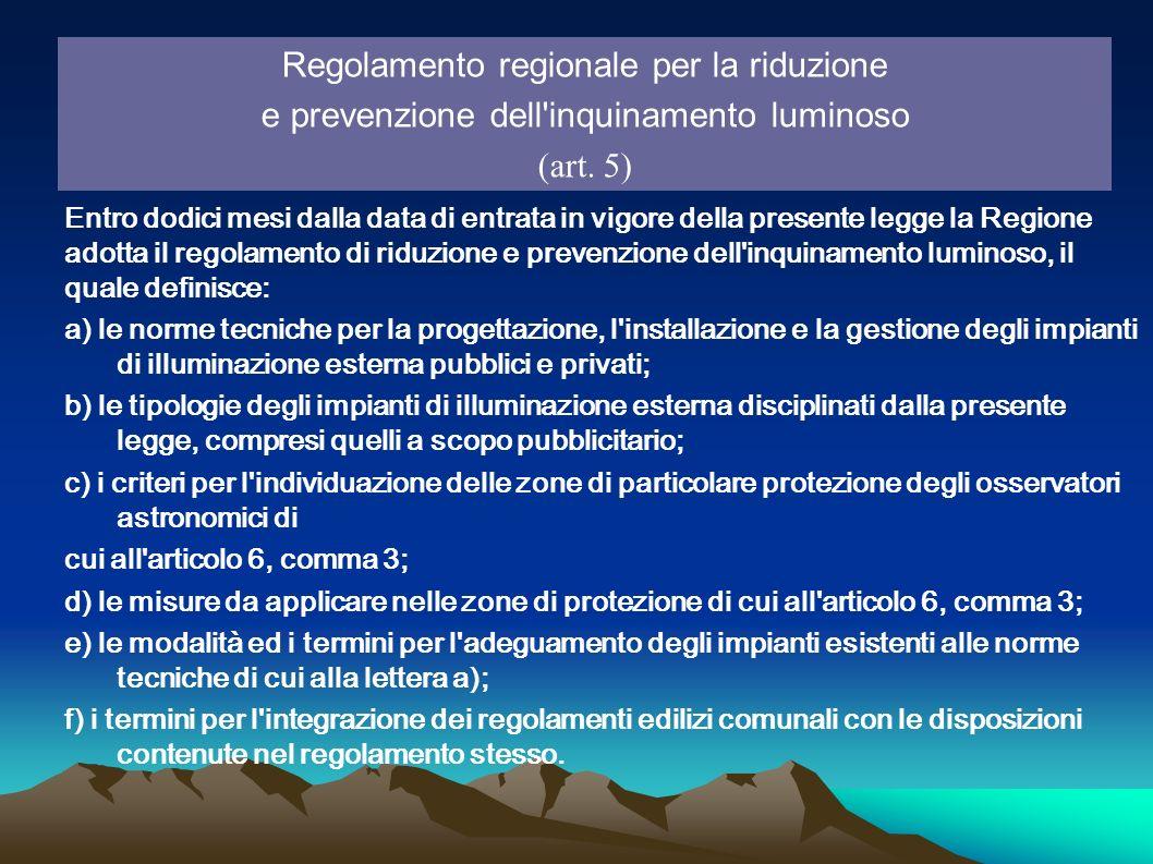 Regolamento regionale per la riduzione e prevenzione dell'inquinamento luminoso (art. 5) Entro dodici mesi dalla data di entrata in vigore della prese