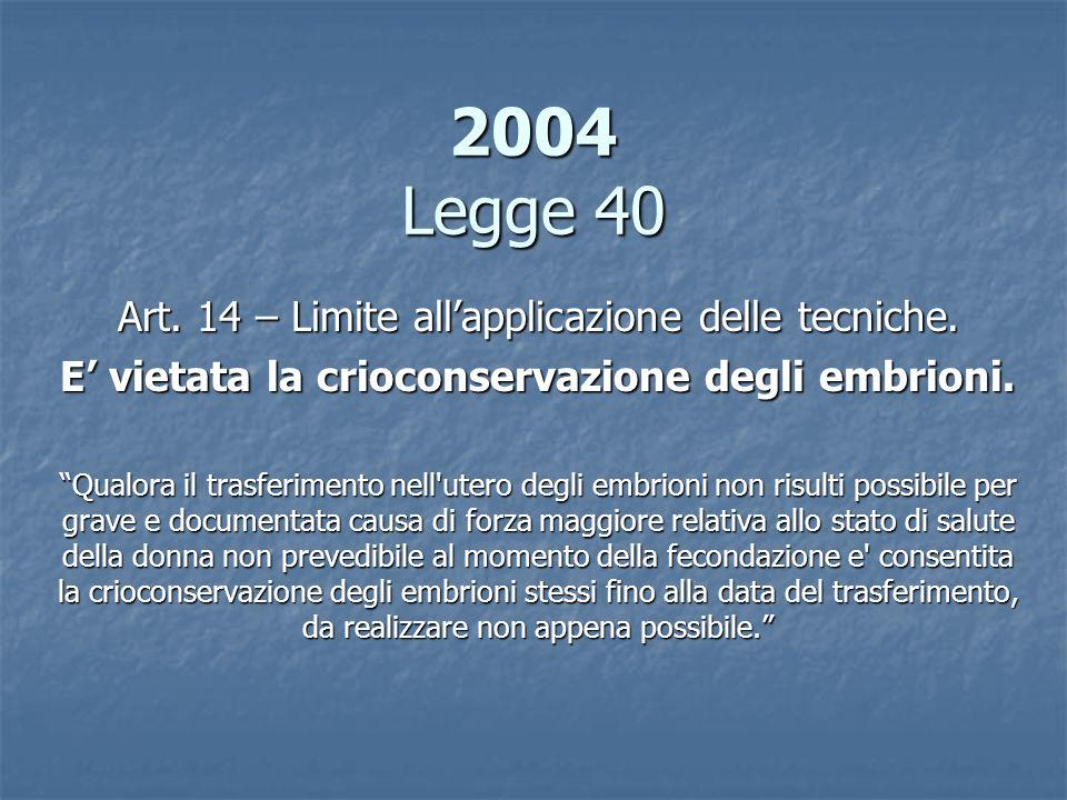 2004 Legge 40 Art. 14 – Limite allapplicazione delle tecniche. E vietata la crioconservazione degli embrioni. Qualora il trasferimento nell'utero degl