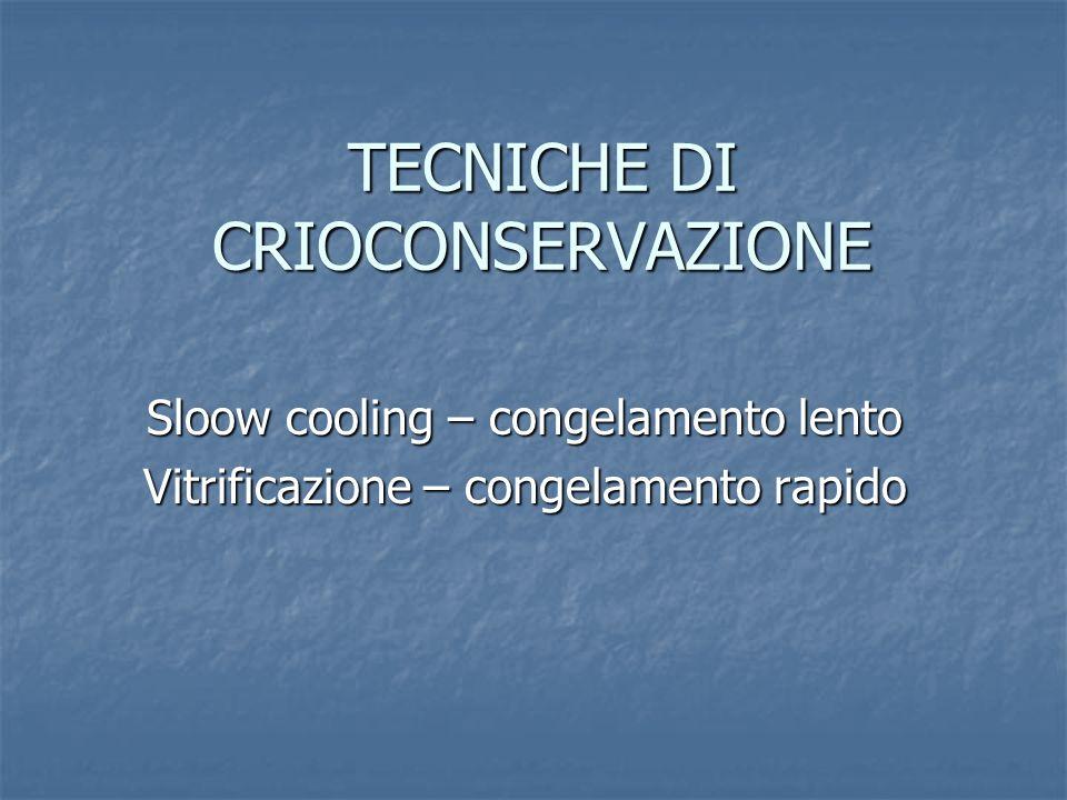 TECNICHE DI CRIOCONSERVAZIONE Sloow cooling – congelamento lento Vitrificazione – congelamento rapido