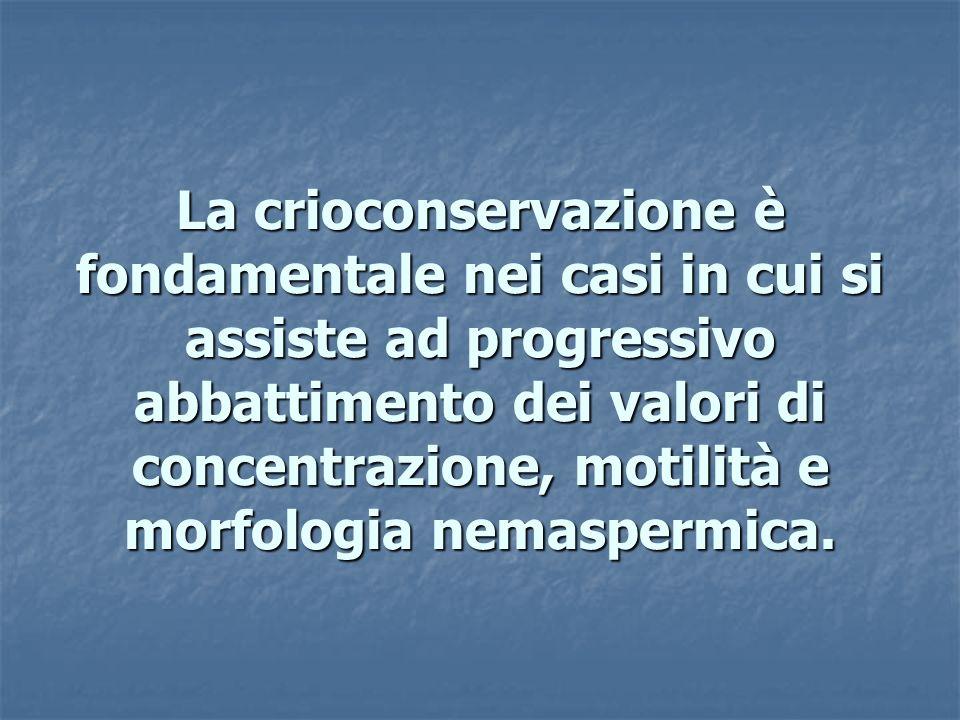 La crioconservazione è fondamentale nei casi in cui si assiste ad progressivo abbattimento dei valori di concentrazione, motilità e morfologia nemaspe