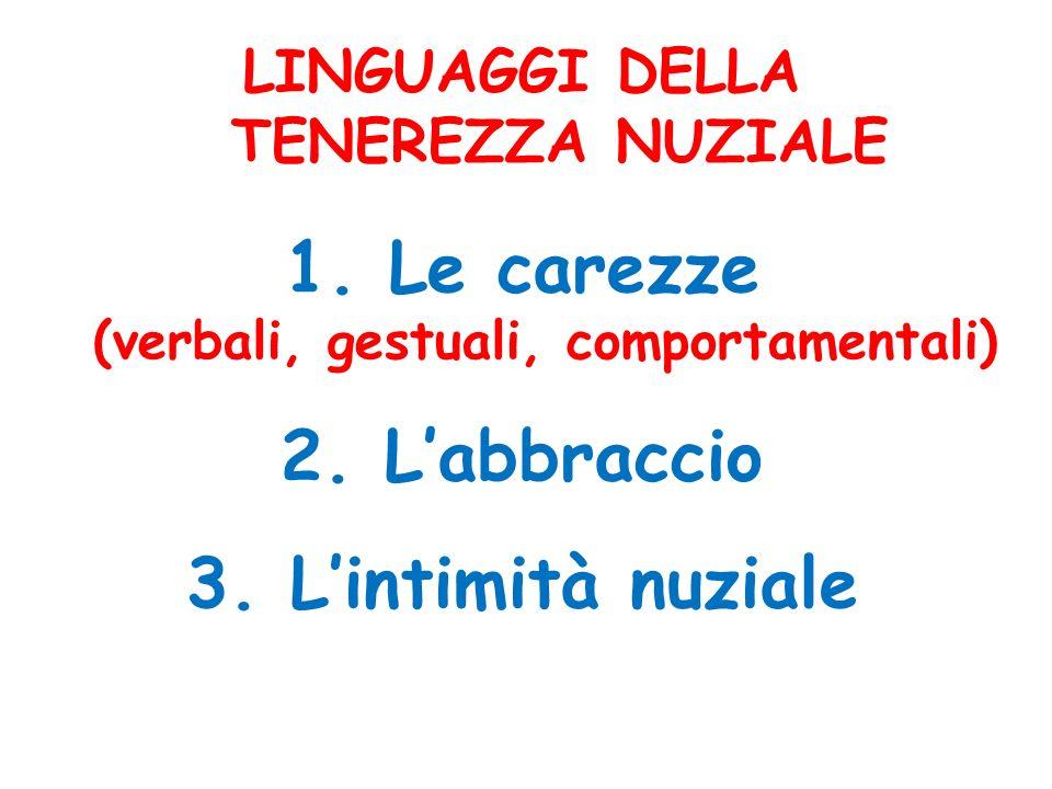 LINGUAGGI DELLA TENEREZZA NUZIALE 1. Le carezze (verbali, gestuali, comportamentali) 2. Labbraccio 3. Lintimità nuziale