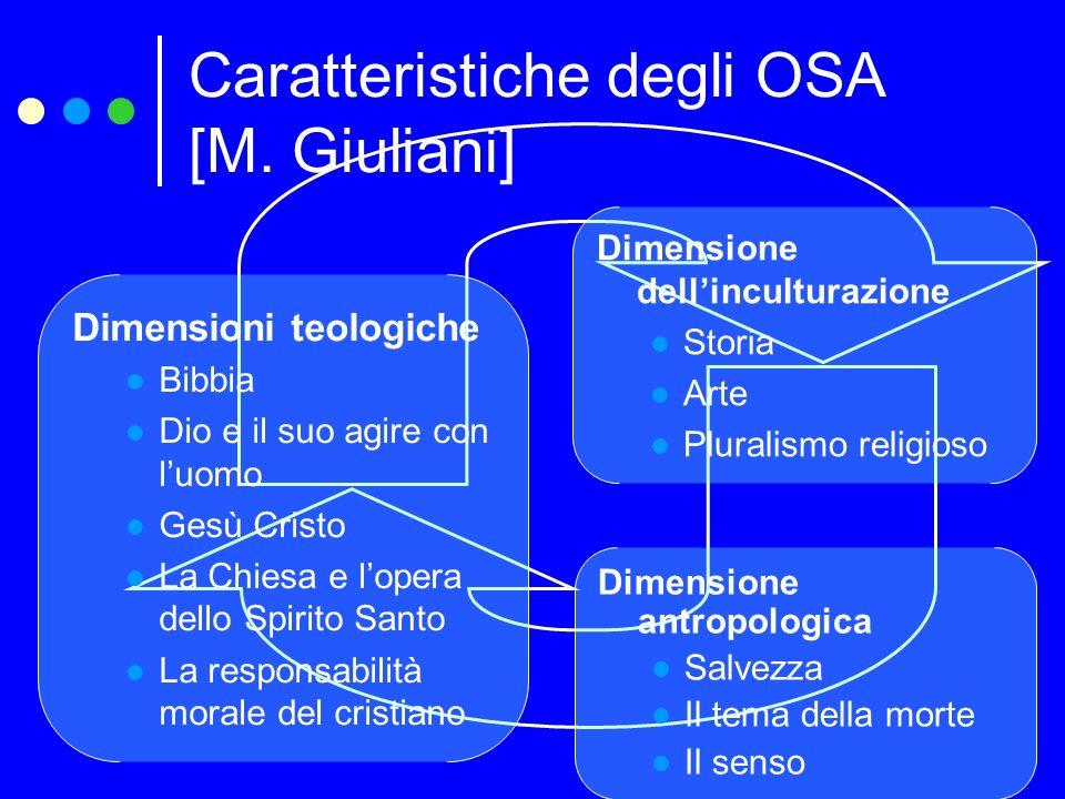 Caratteristiche degli OSA [M. Giuliani] Dimensione antropologica Salvezza Il tema della morte Il senso Dimensioni teologiche Bibbia Dio e il suo agire
