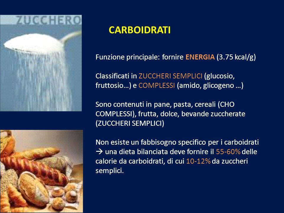 CARBOIDRATI Funzione principale: fornire ENERGIA (3.75 kcal/g) Classificati in ZUCCHERI SEMPLICI (glucosio, fruttosio…) e COMPLESSI (amido, glicogeno