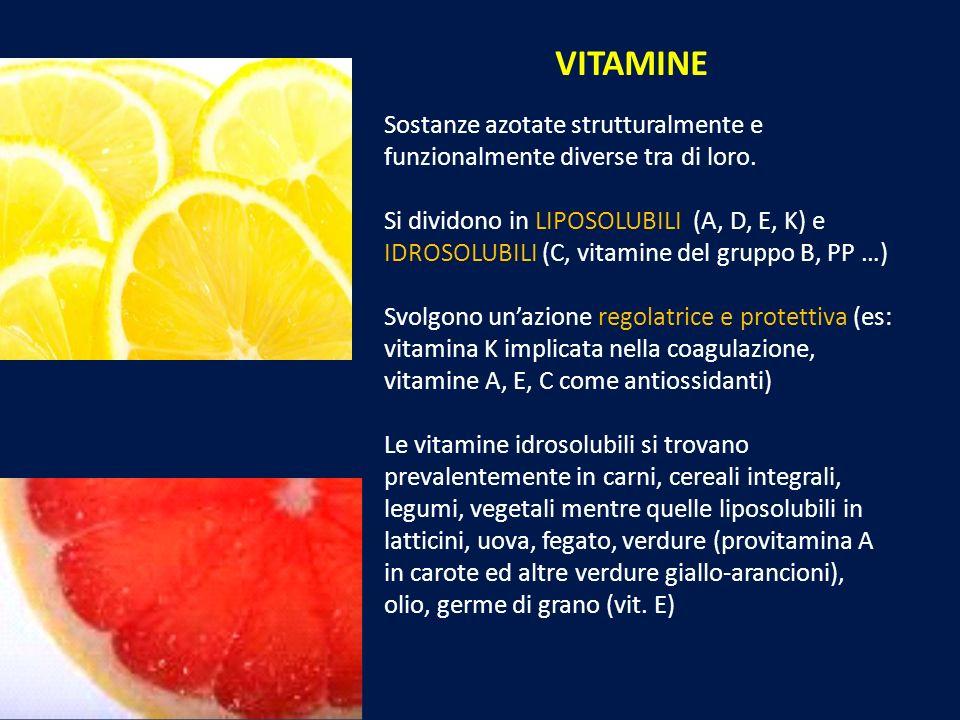 VITAMINE Sostanze azotate strutturalmente e funzionalmente diverse tra di loro. Si dividono in LIPOSOLUBILI (A, D, E, K) e IDROSOLUBILI (C, vitamine d