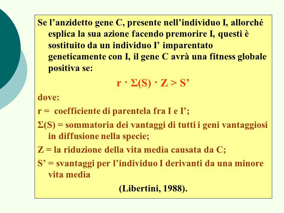 Se lanzidetto gene C, presente nellindividuo I, allorché esplica la sua azione facendo premorire I, questi è sostituito da un individuo I imparentato