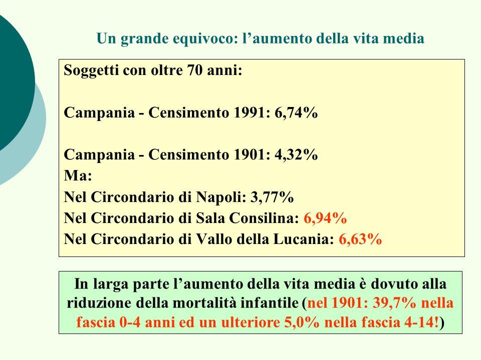 Un grande equivoco: laumento della vita media Soggetti con oltre 70 anni: Campania - Censimento 1991: 6,74% Campania - Censimento 1901: 4,32% Ma: Nel