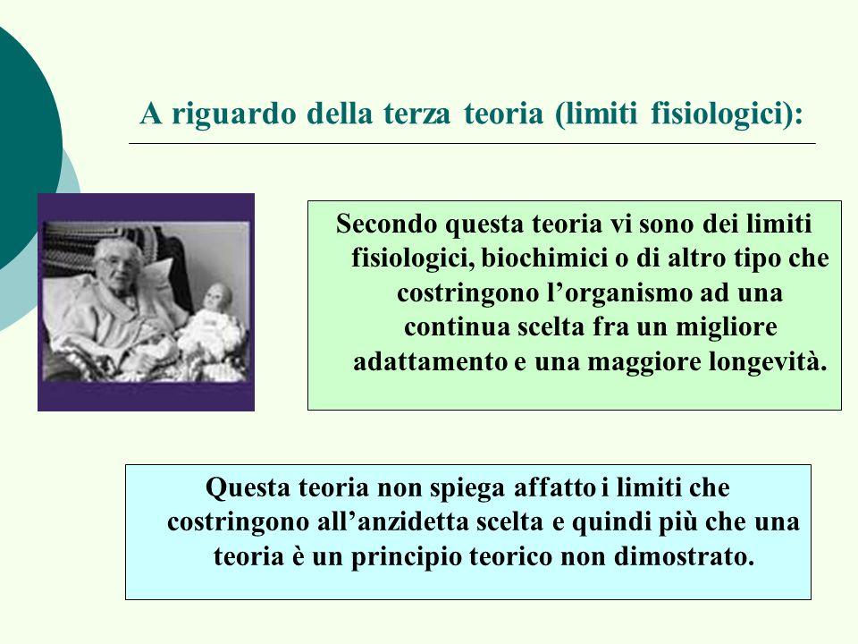 A riguardo della terza teoria (limiti fisiologici): Secondo questa teoria vi sono dei limiti fisiologici, biochimici o di altro tipo che costringono l