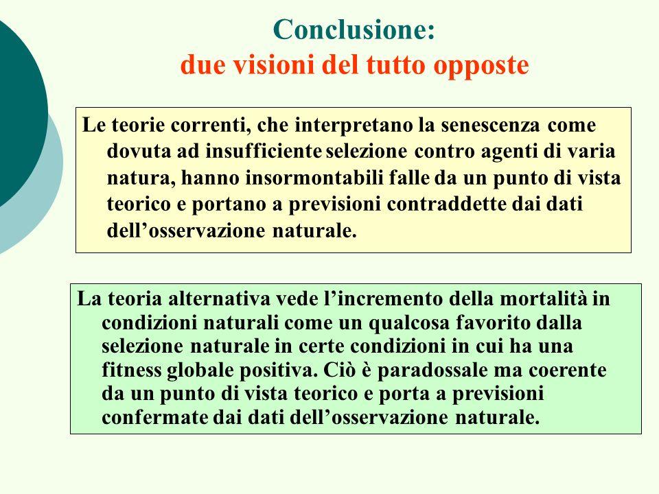 Conclusione: due visioni del tutto opposte Le teorie correnti, che interpretano la senescenza come dovuta ad insufficiente selezione contro agenti di