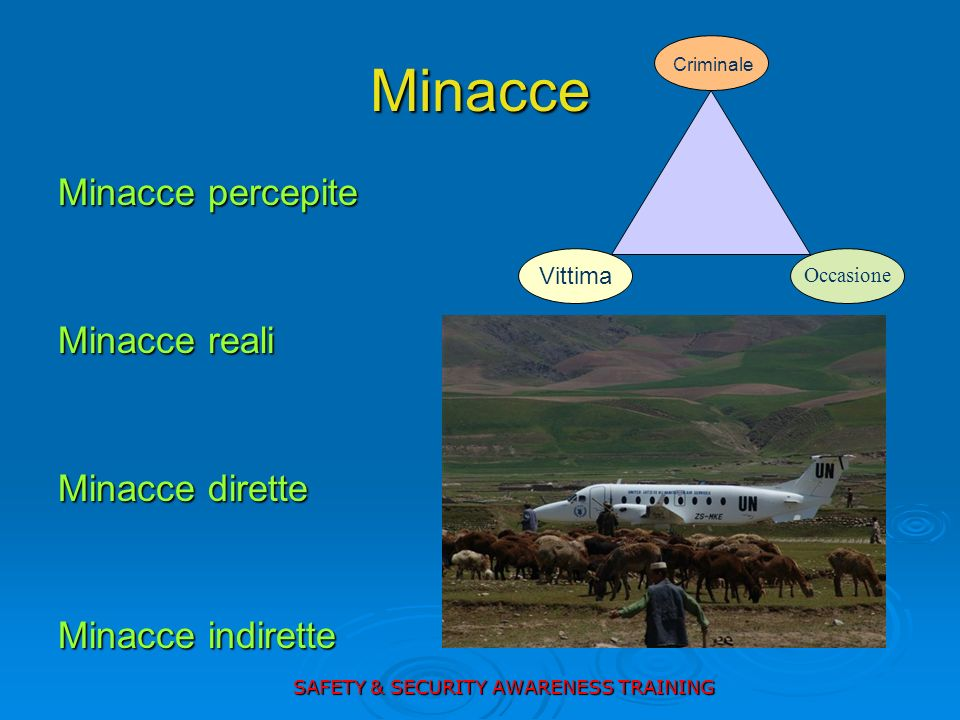 Minacce Minacce percepite Minacce reali Minacce dirette Minacce indirette Vittima Criminale Occasione SAFETY & SECURITY AWARENESS TRAINING