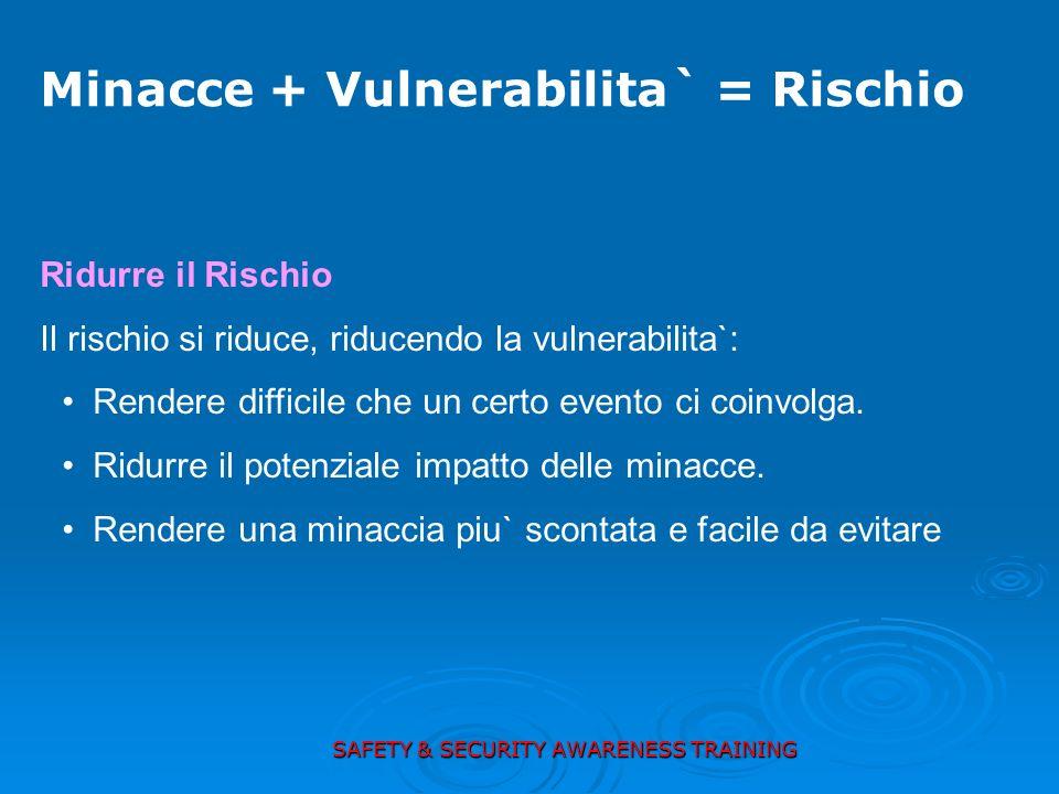 Ridurre il Rischio Il rischio si riduce, riducendo la vulnerabilita`: Rendere difficile che un certo evento ci coinvolga. Ridurre il potenziale impatt