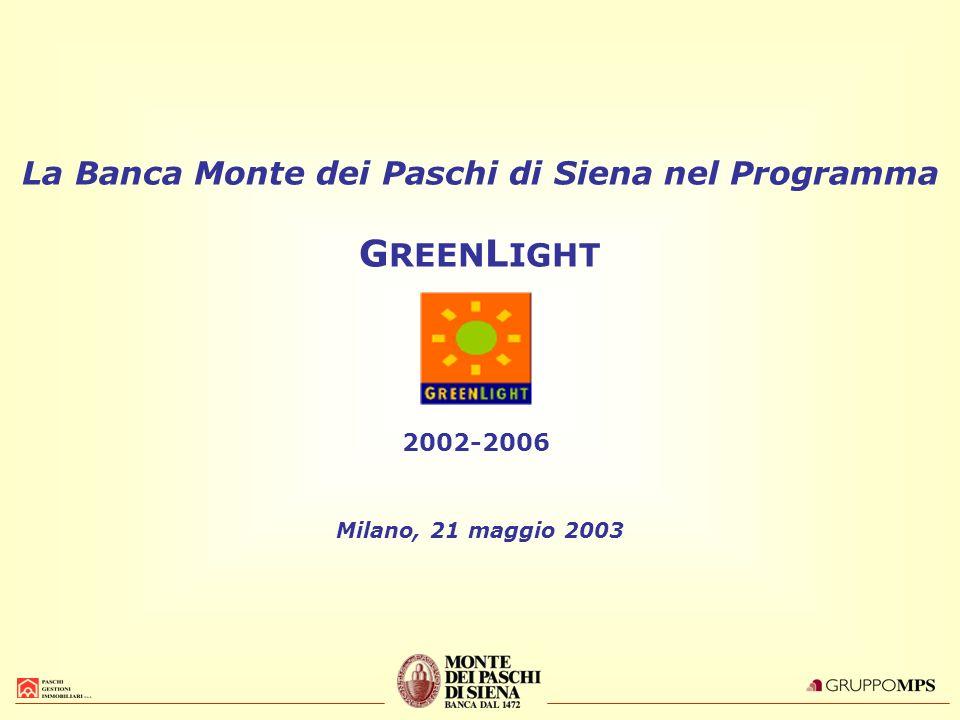 La Banca Monte dei Paschi di Siena nel Programma G REEN L IGHT 2002-2006 Milano, 21 maggio 2003