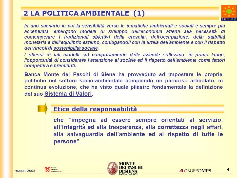 maggio 2003 4 2 LA POLITICA AMBIENTALE (1) In uno scenario in cui la sensibilità verso le tematiche ambientali e sociali è sempre più accentuata, emer