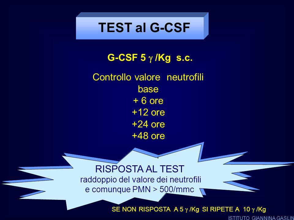 RACCOMANDAZIONI PER IL TRATTAMENTO DELLE NEUTROPENIE TERAPIA CON G-CSF TRATTAMENTO CONTINUATIVO Neutropenie severe associate dallesordio ad infezioni gravi e/o ricorrenti ( es S.