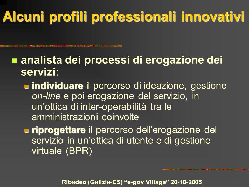 Ribadeo (Galizia-ES) e-gov Village 20-10-2005 Alcuni profili professionali innovativi analista dei processi di erogazione dei servizi: individuare ind
