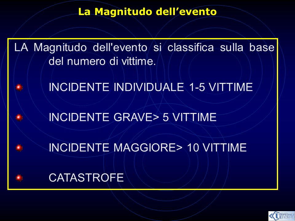 La Magnitudo dellevento LA Magnitudo dell'evento si classifica sulla base del numero di vittime. INCIDENTE INDIVIDUALE 1-5 VITTIME INCIDENTE GRAVE> 5