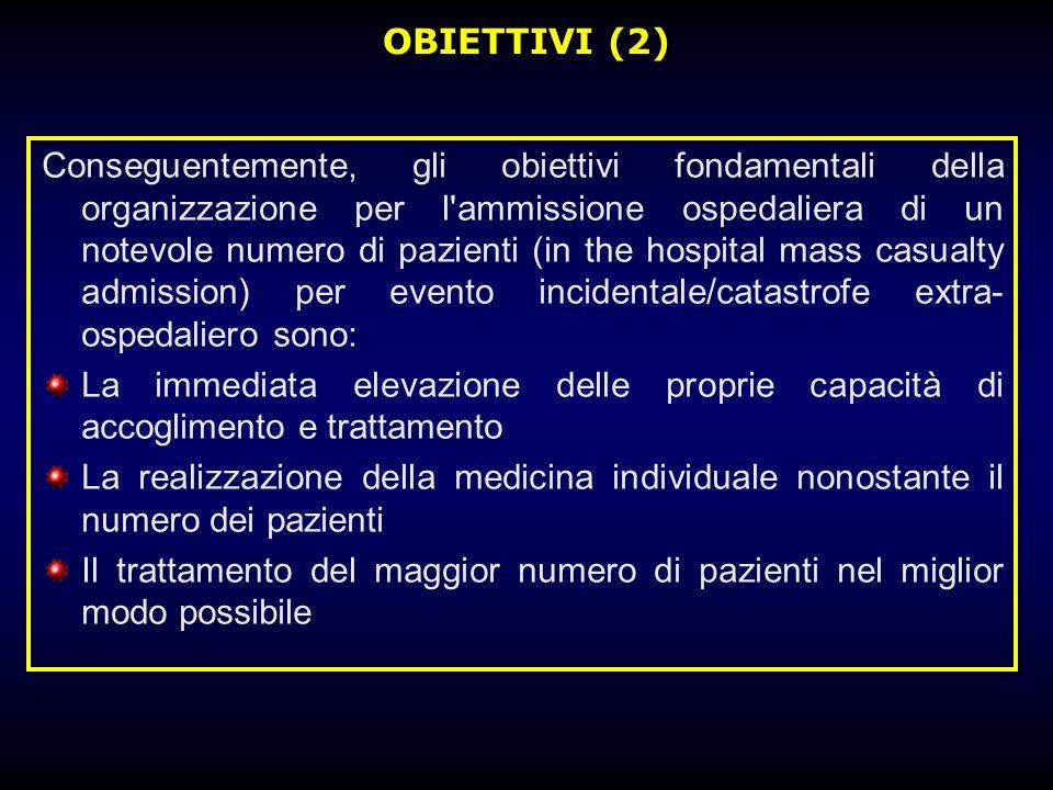 OBIETTIVI (2) Conseguentemente, gli obiettivi fondamentali della organizzazione per l'ammissione ospedaliera di un notevole numero di pazienti (in the