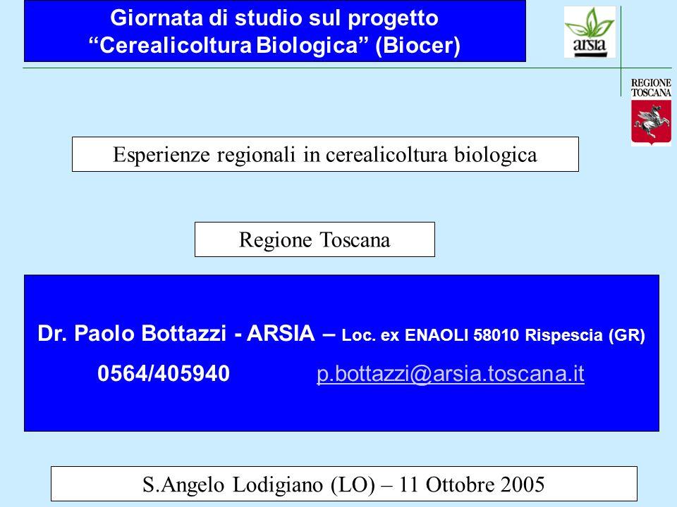 Esperienze regionali in cerealicoltura biologica – Regione Toscana S.Angelo Lodigiano (LO) – 11 Ottobre 2005 La cerealicoltura è molto importante nellambito del settore biologico in Toscana I dati aggiornati al 31/12/2004 indicano 2.940 operatori per un totale di 97.460 ha, che rappresentano il 10.4 % del totale della SAU della Regione di questi 97.000 ha circa 70.000 sono certificati bio e circa 27.000 in conversione