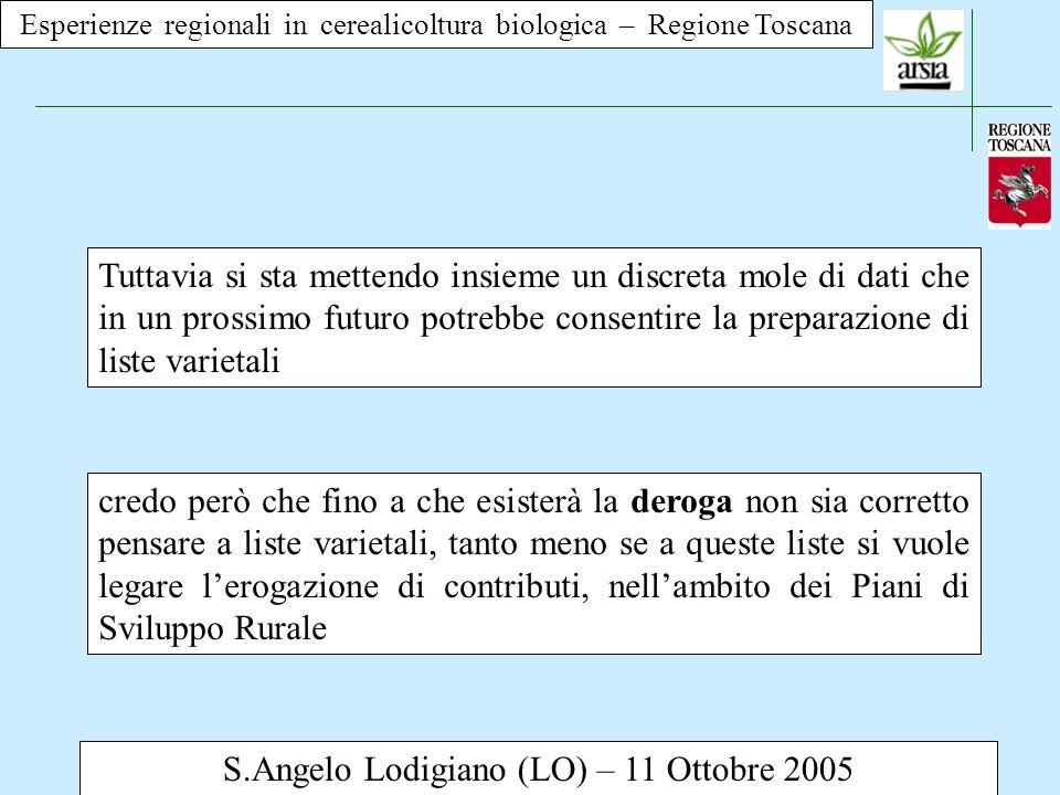 Esperienze regionali in cerealicoltura biologica – Regione Toscana S.Angelo Lodigiano (LO) – 11 Ottobre 2005 Tuttavia si sta mettendo insieme un discr