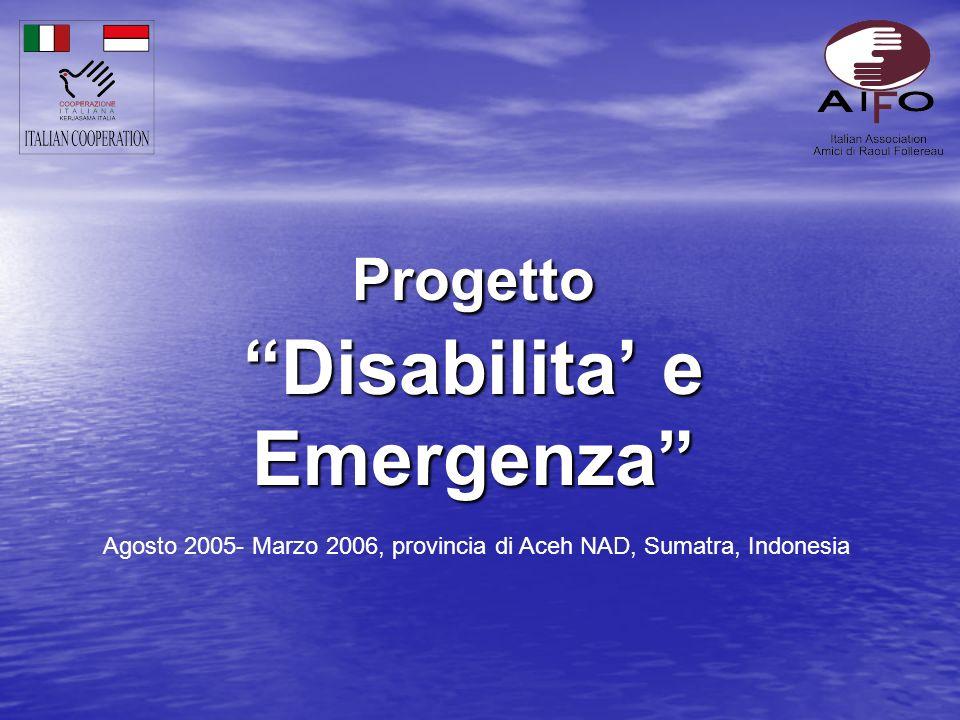 Progetto Disabilita e Emergenza Agosto 2005- Marzo 2006, provincia di Aceh NAD, Sumatra, Indonesia