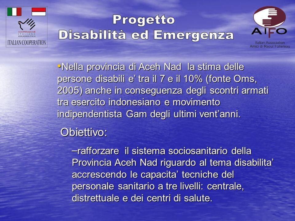 Nella provincia di Aceh Nad la stima delle persone disabili e tra il 7 e il 10% (fonte Oms, 2005) anche in conseguenza degli scontri armati tra esercito indonesiano e movimento indipendentista Gam degli ultimi ventanni.