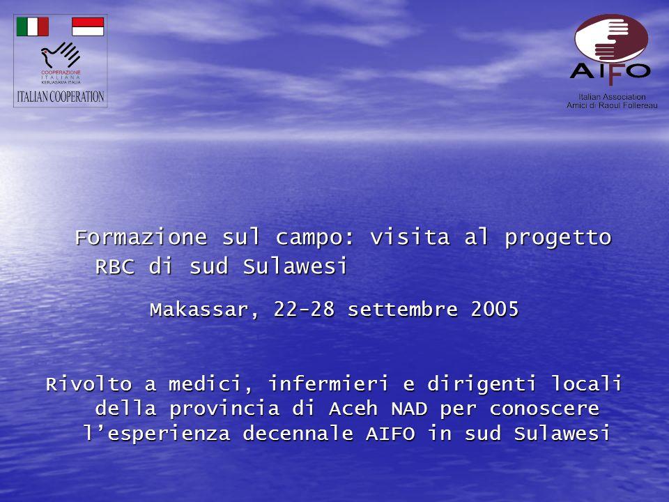 Formazione sul campo: visita al progetto RBC di sud Sulawesi Makassar, 22-28 settembre 2005 Rivolto a medici, infermieri e dirigenti locali della provincia di Aceh NAD per conoscere lesperienza decennale AIFO in sud Sulawesi
